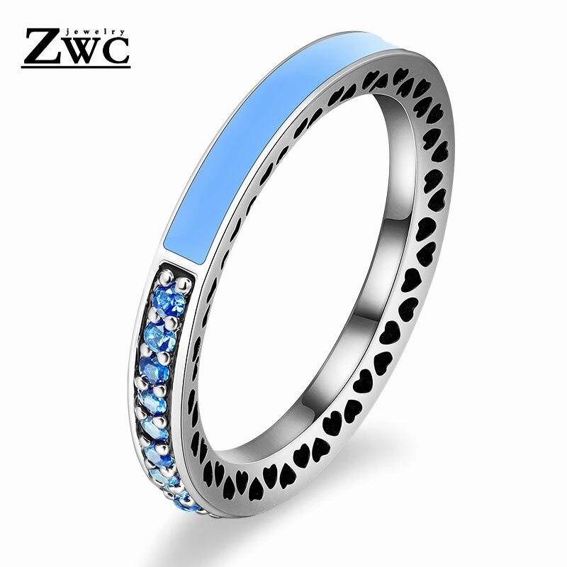 ZWC модный Сияющий светильник в виде сердец с розовой эмалью и прозрачным CZ кольцом на палец для женщин, кольца с кристаллами из медного сплава, ювелирные изделия в подарок - Цвет основного камня: LightBlue