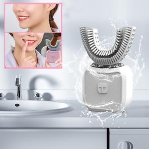 Image 1 - Brosse à dents électrique sonique, Type U, brosse à dents automatique paresseux à chargement USB, 360 degrés, outil de nettoyage de la brosse, soins oraux