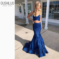 2020 Crop top prom dresses royal blue sequin mermaid party dresses shiny cute sweetheart two piece prom dress blue court train