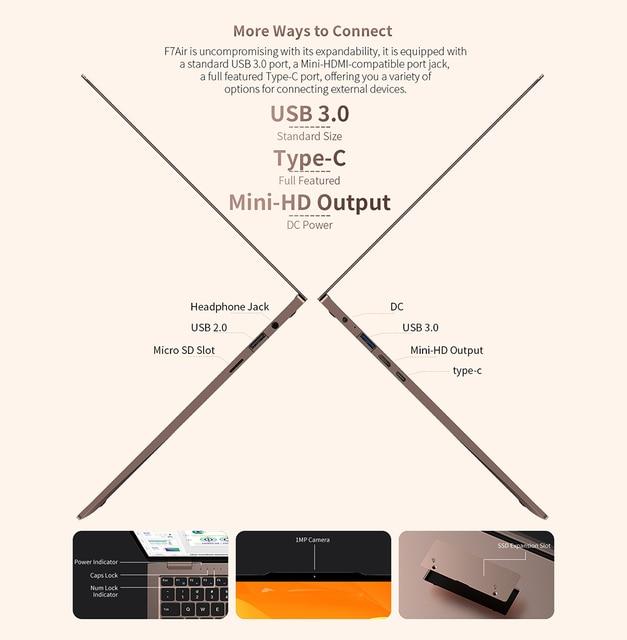 "Newest Teclast F7 Air Laptop 1.18KG 14"" 8GB LPDDR4 256GB SSD Intel N4120 Notebook 1920x1080 Windows 10 OS 180° Laptops Type-C 6"