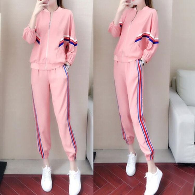 Casual Sports WOMEN'S Suit 2019 Spring And Autumn New Style Fashion Slimming Zipper Hoodie Western Style By Age Large Size Two-P