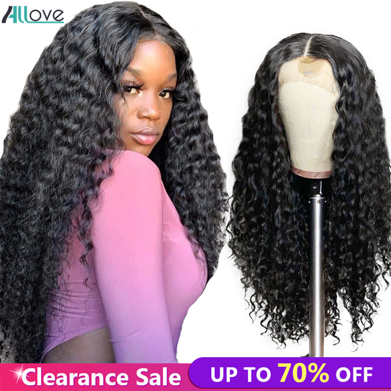 Allove Deep Wave Human Hair Wigs 150% Pre Plucked Lace Front Human Hair Wigs 13x4 Brazilian Lace Front Wigs For Black Women