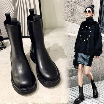 Net red same round end cigarette, Martin boots, women's short boots, British Wind boots, Chelsea boots, women's short boots