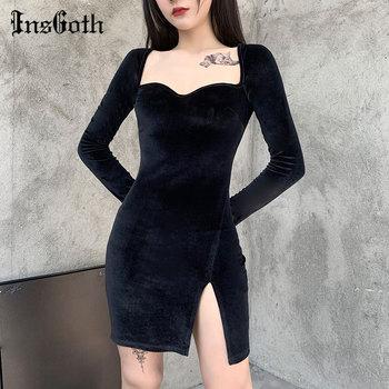 cami velvet vintage loose dress InsGoth Vintage Velvet Dress Goth Sexy High Waist Mini Dress Aesthetic Elegant Long Sleeve Split Women Dresses Spring Outfits