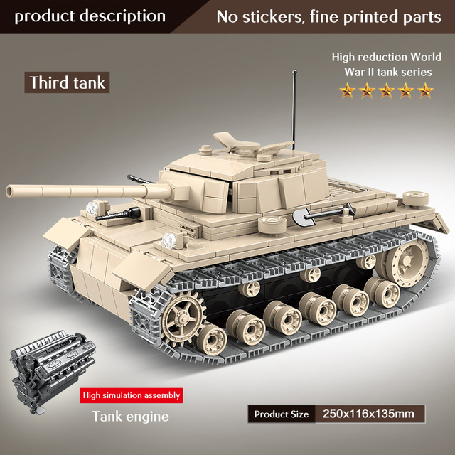 711 PCS  city police Military tank bricks world war WW2 germany's no 3  Tank model soldier building blocks toys for kids