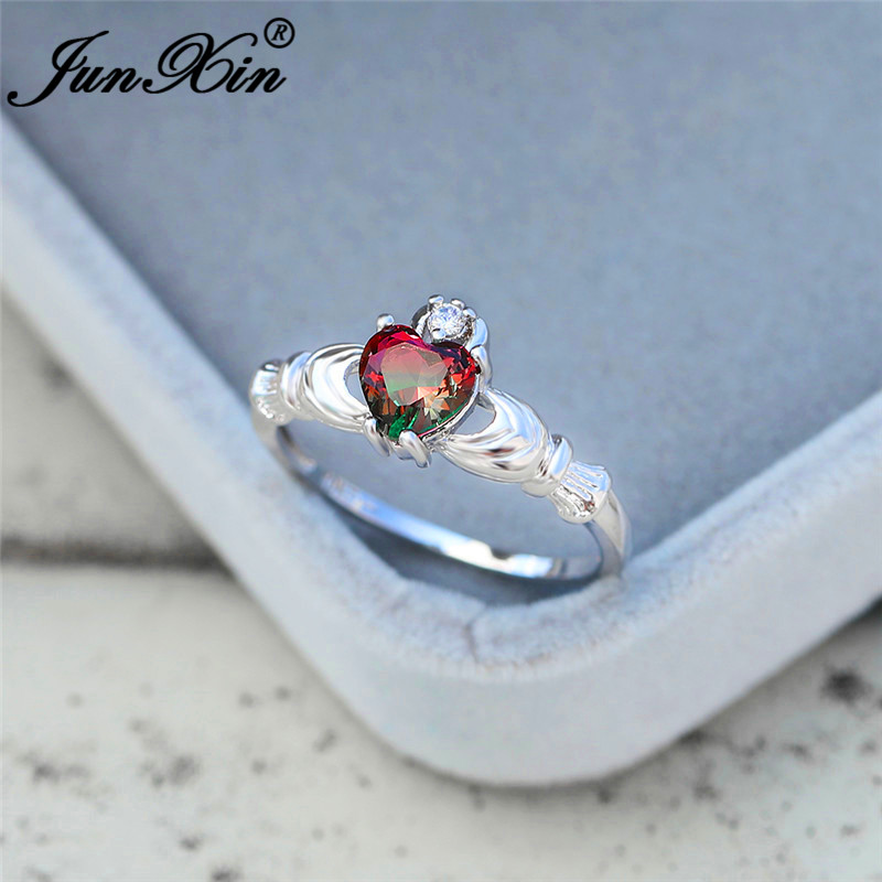 Gradient Rainbow Fire Crystal Love Heart Rings For Women White/Rose Gold Colorful Red Green Stone Claddagh Ring Wedding Bands
