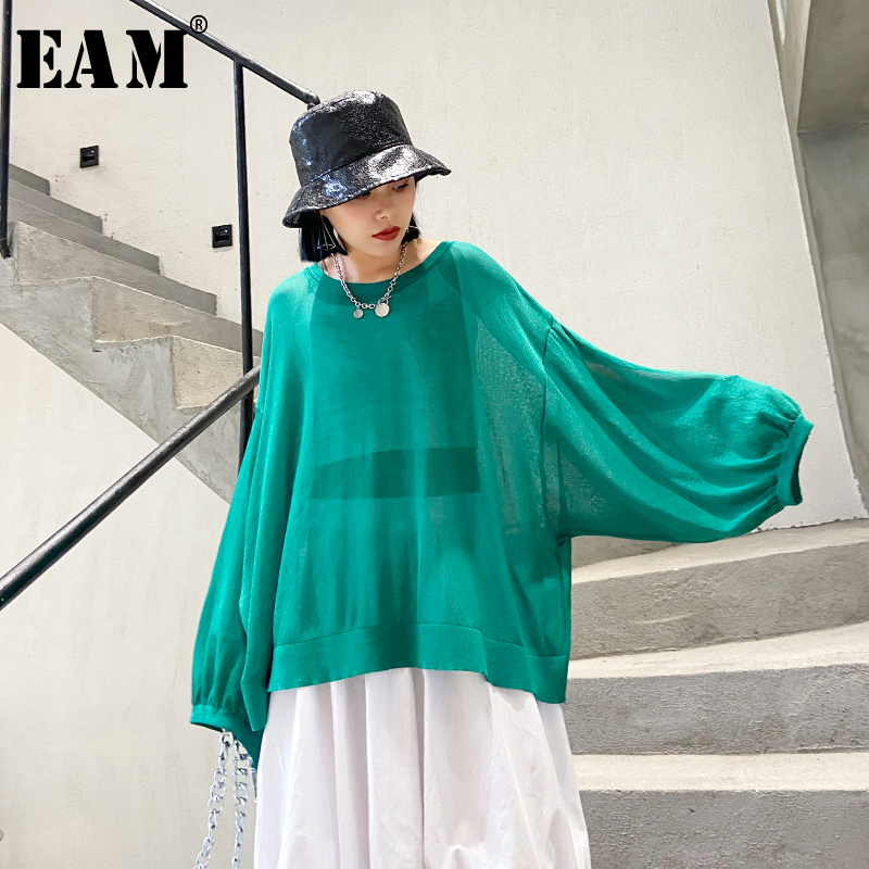 [EAM] Women Multicolor Green Knitting Perspective Big Size T-shirt New Round Neck Long Sleeve Fashion Spring Summer 2020 1T835