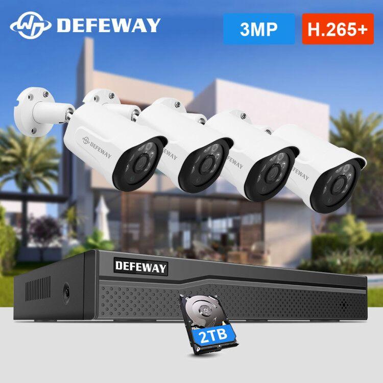 DEFEWAY H.265+ 8CH 3.0MP POE Security Camera System Kit 4PCS HD IP Camera IR Outdoor Waterproof CCTV Video Surveillance NVR Set