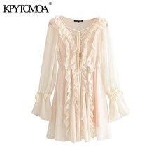 KPYTOMOA – Mini robe à volants pour femmes, mode Chic avec cordon de serrage, Vintage, col en V, manches longues, robes de plage