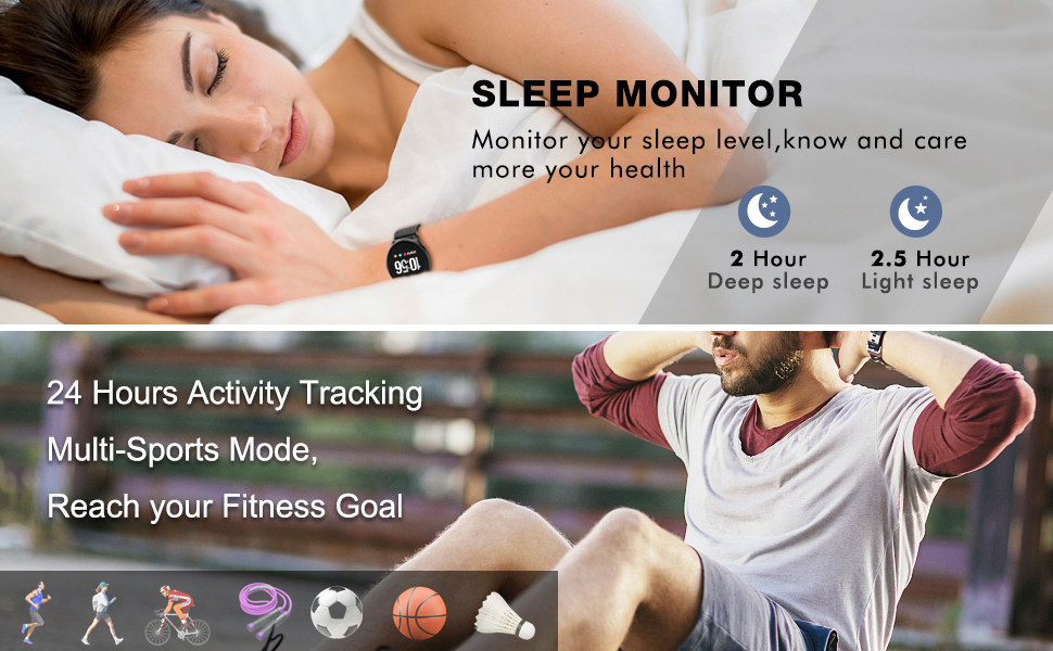 BingoFit Smartwatch Health Blood Pressure Pedometer Sleep Monitor