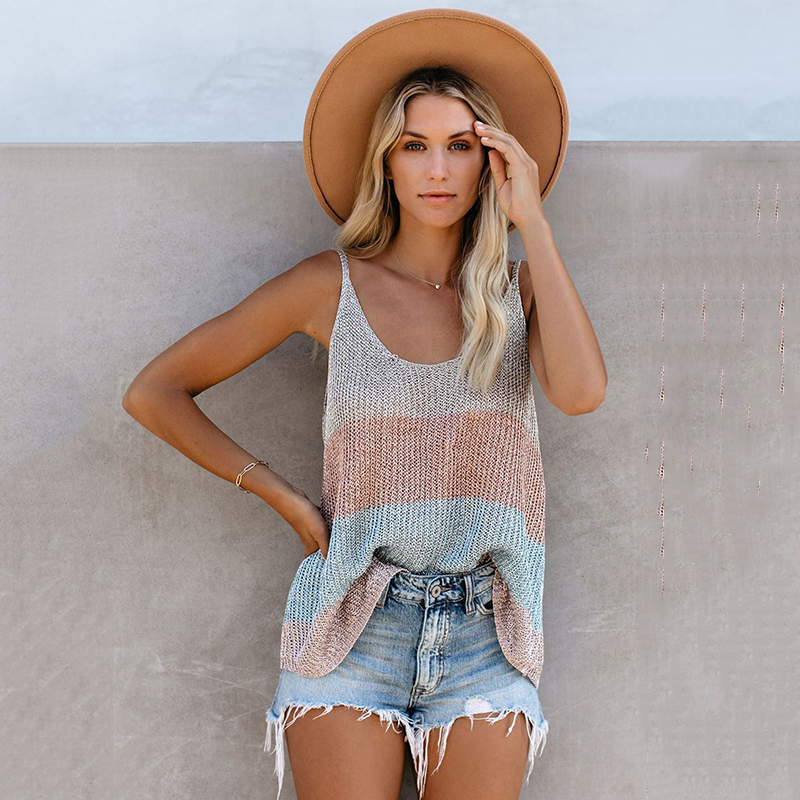 SWQZVT Knitted Mix-color Women's Croptop 2020 New Spring Summer Casual Round Neck Ladies Top Tees Beach Women Tank Tops