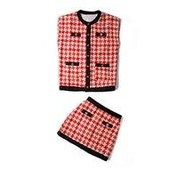 CHIC Autumn New 2020 Designer Europe Women Suit Pockets Plaid Tweed Top Lady Sleeveless Vest and slim mini Skirt Woman 2 pcs Set