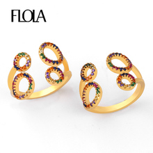 FLOLA Adjustable Rainbow Ring Zirconia Multi Color Circle Pave For Woman 24k Gold Jewelry Anillo Arcoiris righ88