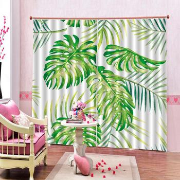 Modern Home Decoration Living Room Curtains 3d Abstract oil painting, green leaves High quality custom 3d curtain fabric