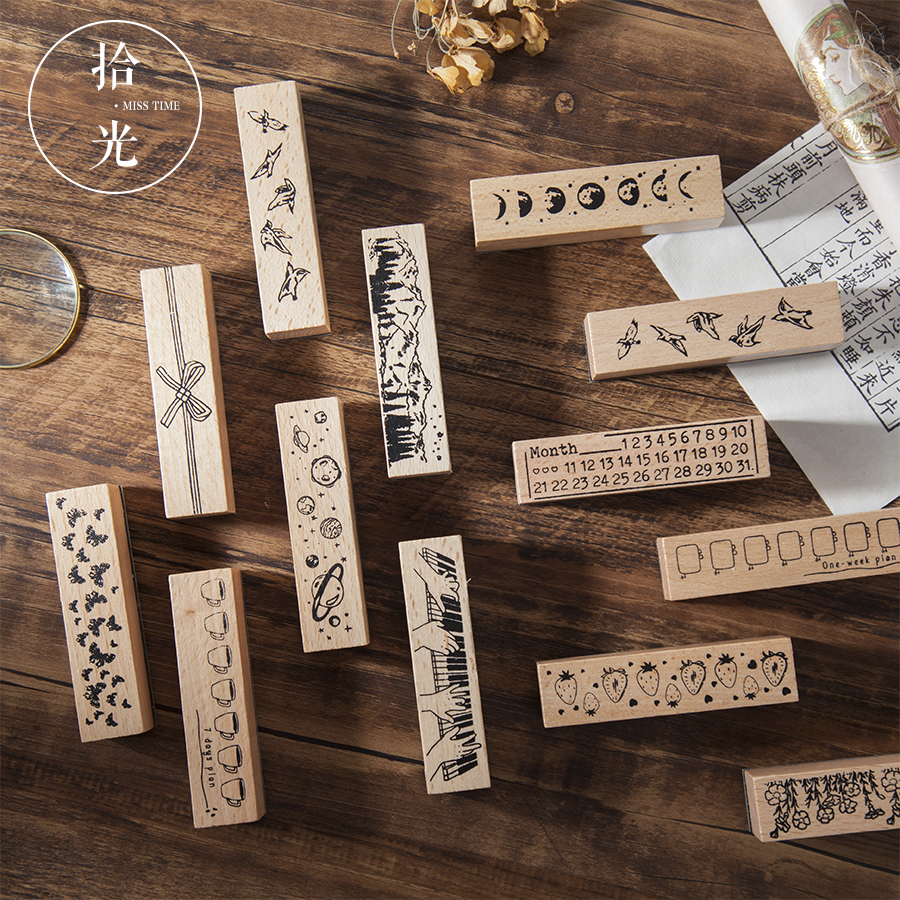 Vintage Stamps Wooden Rubber Stamps With Flower Planet Moon For Letters Diary Craft Scrapbooking