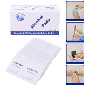 Image 2 - 100Pcs/Box Alcohol Wipe Clean Pad Medical Cotton Swab Sachet Antibacterial Tool Cleanser Cotton Buds Tip For Medical Sticks