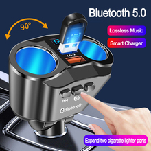 JINSERTA Car Handsfree Bluetooth 5.0 FM Transmitter Dual USB Charger Expand 2 Cigarette Lighter Ports Support U Disk Music Play
