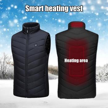 2019 New Men Women Electric Heated Vest Heating Waistcoat USB Thermal Warm Cloth Feather Winter Jacket hunting Hinking Dropship 2