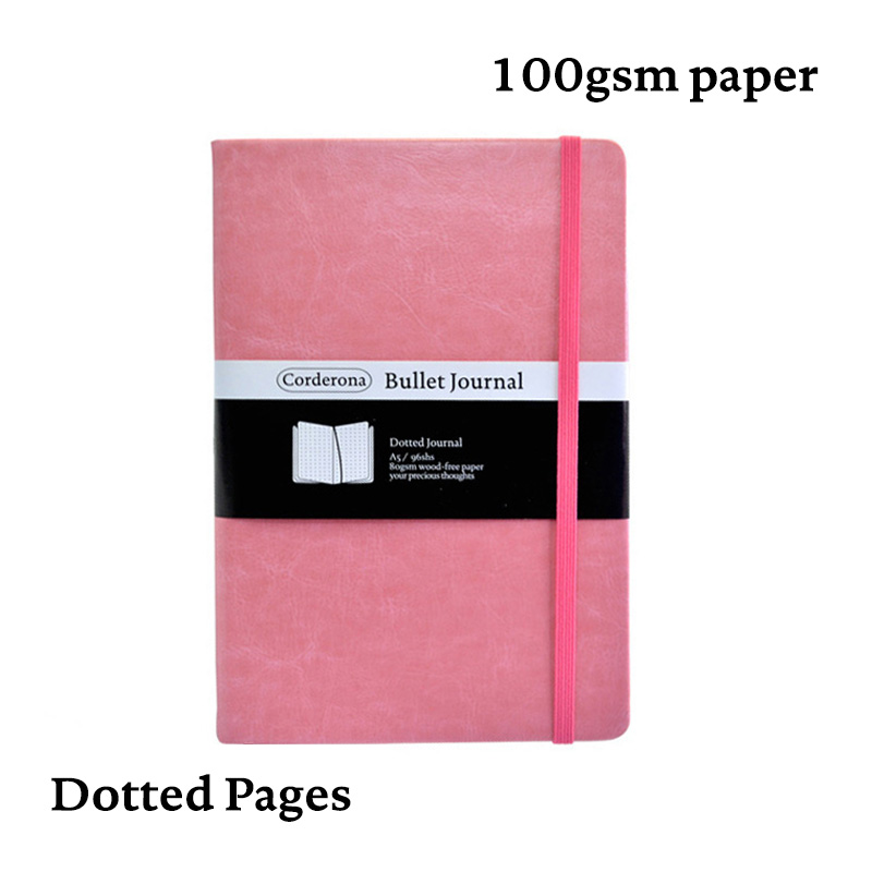 Dot Grid Bullet Journal Hard Cover Candy Color A5 PU Notebook Elastic Band Dotted Bujo Travel Planner Diary