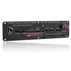 Image 2 - Mini módulo home áudio bluetooth amplificador tf uso amplo 3.7v 20w suporte fm mp3 microfone karaoke wav ape flac usb reverberação