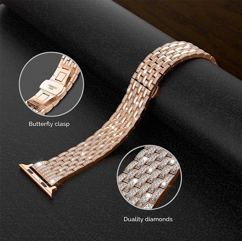 Bracelet diamant de luxe pour bracelet de montre Apple 40mm 38mm série 5/4/3/2/1 i bracelet de montre 40mm 38mm 42mm 44mm bracelet en acier inoxydable