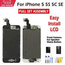 เบอร์ 1 Premium AAA สำหรับ iPhone 5S 5C 5 5G SE LCD Touch Screen Digitizer Assembly กล้องด้านหน้าปุ่มติดตั้งง่าย