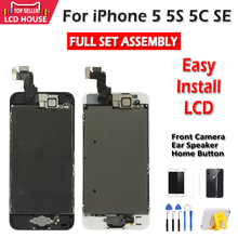 Tela aaa lcd para iphone 5S, 5c 5g se, touch screen, montagem, com câmera frontal início botão fácil instalar