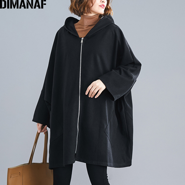 DIMANAF Oversize Women Jacket Coat Autumn Winter Outerwear Zipper Cardigan Vintage Batwing Sleeve Loose Plus Size Hooded Clothes