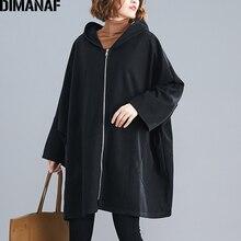 DIMANAF Oversize kobiety kurtka płaszcz jesień zima odzież wierzchnia Zipper sweter w stylu Vintage Batwing długim rękawem luźne Plus Size z kapturem ubrania