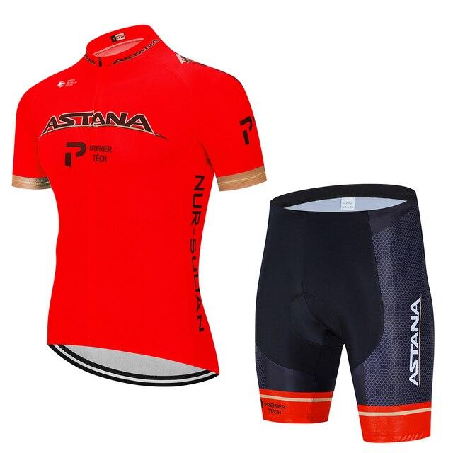 Verão 2020 astana pro equipe de ciclismo jérsei maillot bicicleta ciclismo roupas da bicicleta dos homens uniformes dos esportes montanha terno conjunto 4