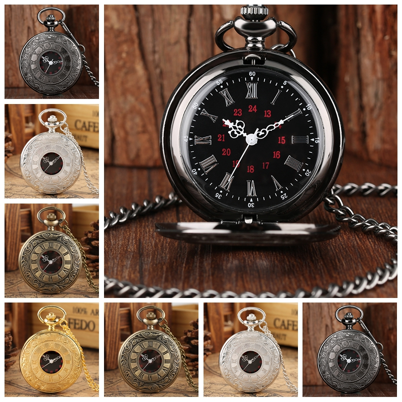 8 Types Antique Retro Roman Numerals Display Quartz Pocket Watch Cheap Price Necklace Pendant Clock Christmas Xmas Best Gifts