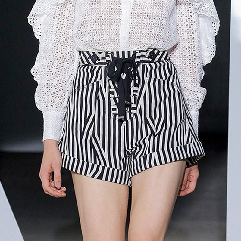 Дизайнер подиума весна осень женский комплект длинный рукав выдалбливают Кружева белая блуза топ и полосатые дизайнерские шорты модные костюмы - 4