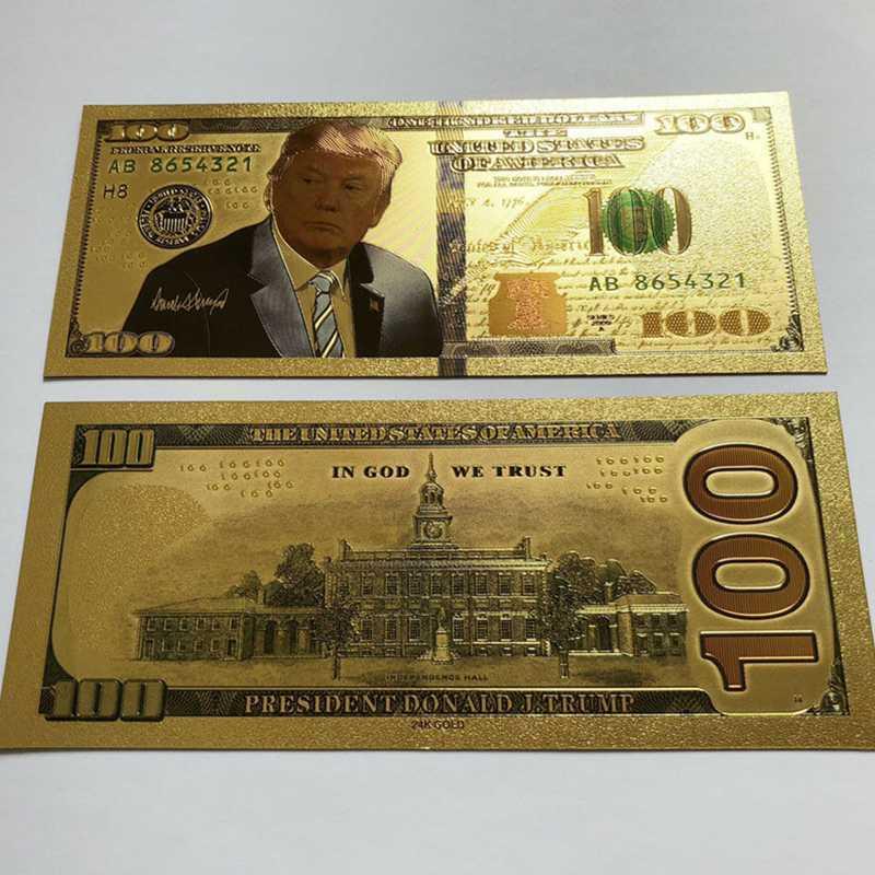 Президент США Дональд Трамп Позолоченные долларов купюры закладки Новинка банкнота