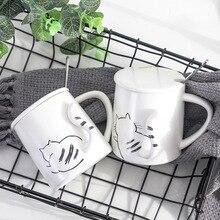 Cat Paws ver2 Cute Ceramic Mug with Lid Spoon Tea Milk Cups Home School Kids Mugcup Drinkware Waterware