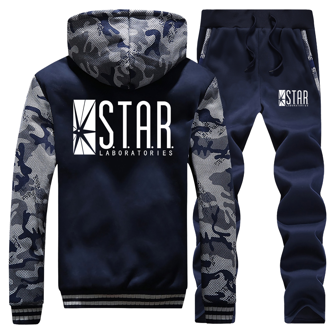 The Flash Superhero Hoodie Pant Set Men Barry Allen S.T.A.R STAR Super Hero Tracksuit Coat Winter Thick Jacket Camo Track Suit