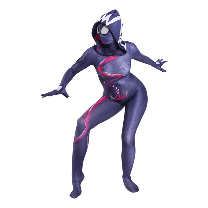 Venom Spider Woman Costume Spandex Female Costume Cosplay Purple Freeshipping