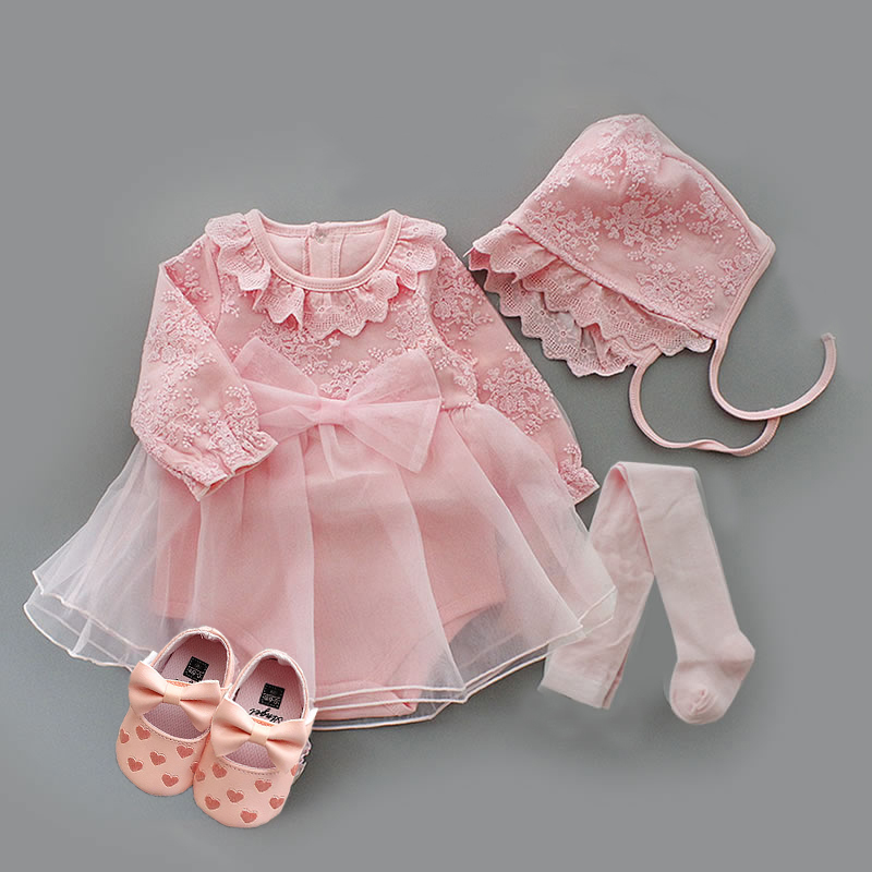 1 Set High Quality Baby Infant Girl Princess Dress Christening Baptism Wedding Party Gown Baby Shower Gift Photo Shooting Dress