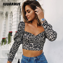 IUURANUS  Square Collar Short Sexy Tops Ladies Leopard Print Blouse Puff Sleeve Shirt Palace Slim Backless Autumn Women Crop Top