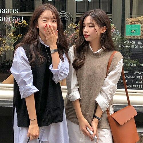 2019 Autumn Beige Round Neck Sleeveless Knitting Vest Korean Fashion Sleeveless Sweaters Gray Color Waistcoat 2