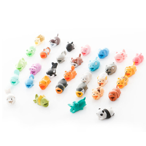 Cute Cartoon Cable protector Data Line Silicone Bobbin winder Protective For iphone Samsung Android USB Charging earphone Case