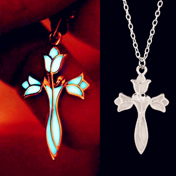 Glowing Cross Lotus Flower Luminous Elves Princess Aragorn Arwen Evenstar Pendant Necklace Jewelry Glow in the Dark image