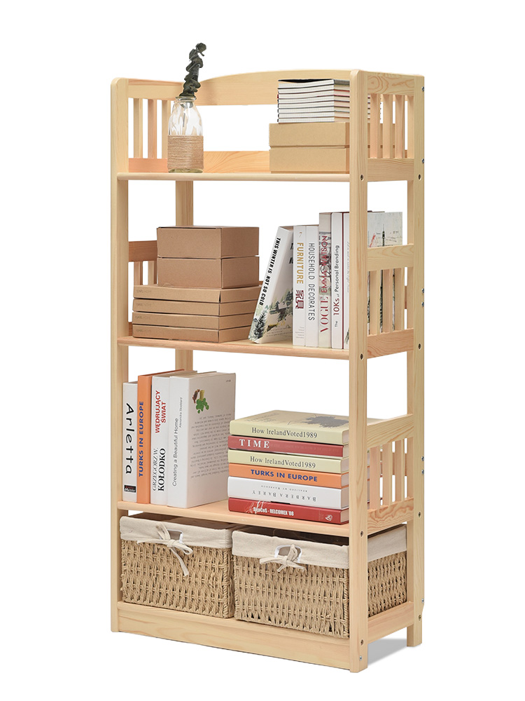 Bookcase Shelves Landing Children's Solid Wood Bookcase Creative Students Home Log Bookcase Pure Solid Wood