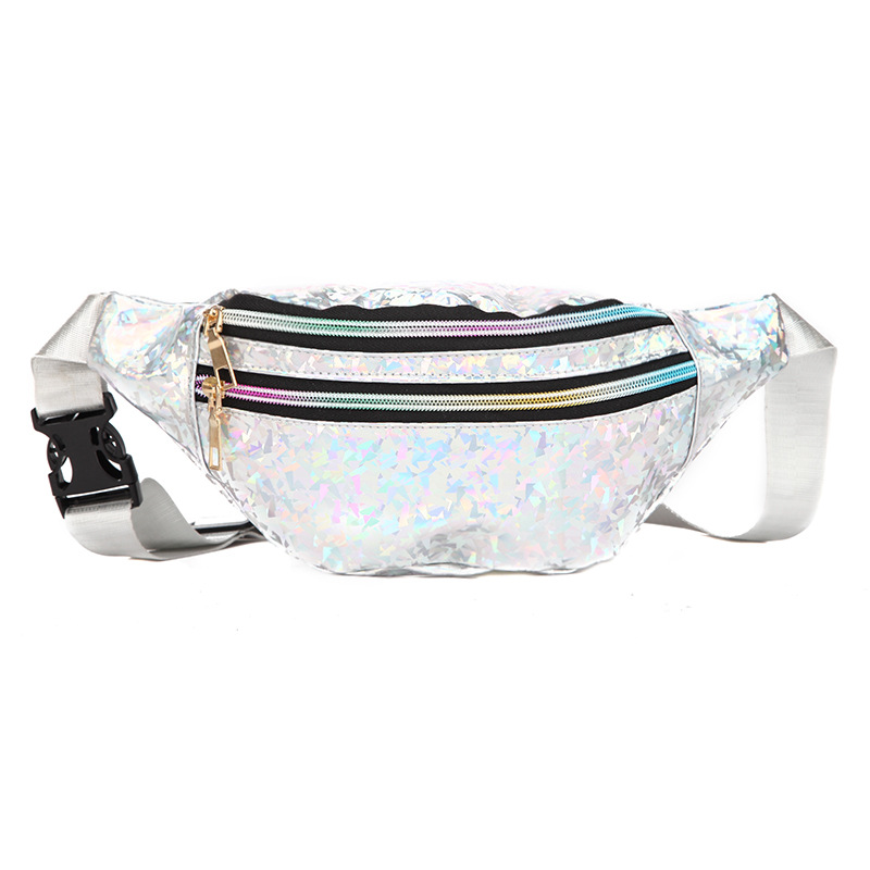 LXFZQ Holographic Waist Bags Women Pink Silver Fanny Pack Female Belt Bag Black Geometric Waist Packs Laser Chest Phone Pouch