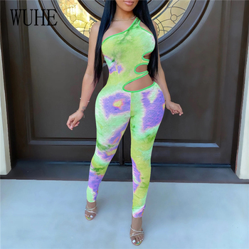 WUHE Women Tie Dye Galaxy Print One Shoulder Cut Out Waist Bodycon Jumpsuit Sexy Club Party Romper Hollow Out Skinny Playsuit purple sexy cut out backless playsuit with self tie design