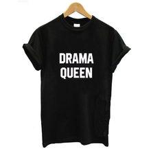 Rainha do Drama Carta Imprimir Camiseta Mulheres de Manga Curta O Pescoço Solto Camiseta 2020 Summer Fashion Mulheres Camiseta Tops