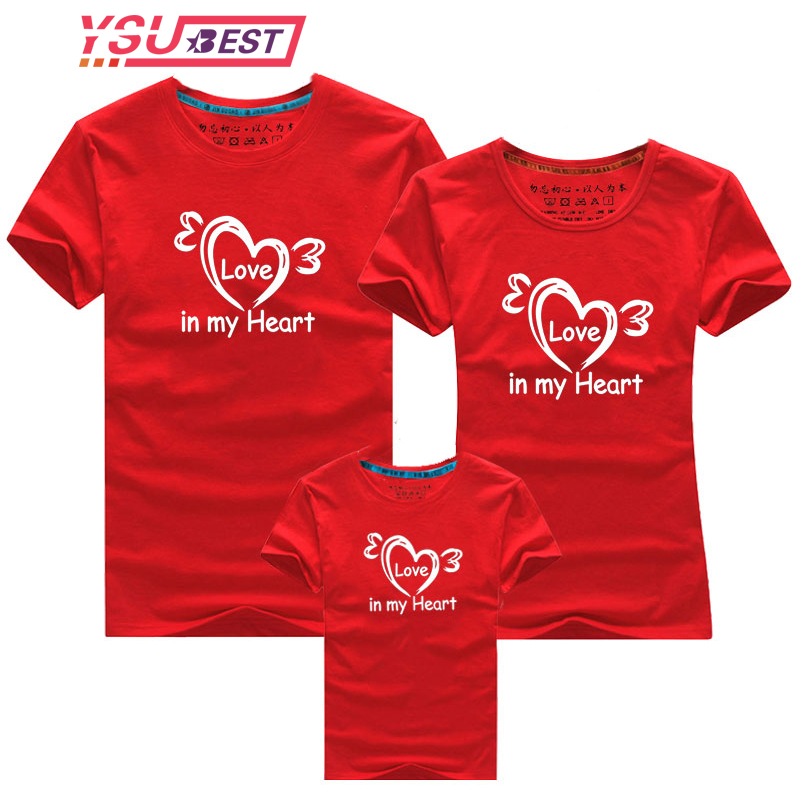 New Family Look Mommy And Me Clothes Mother Daughter Matching Family Outfits T Shirt Mom Kids Baby Girls Cotton Heart Print Tops