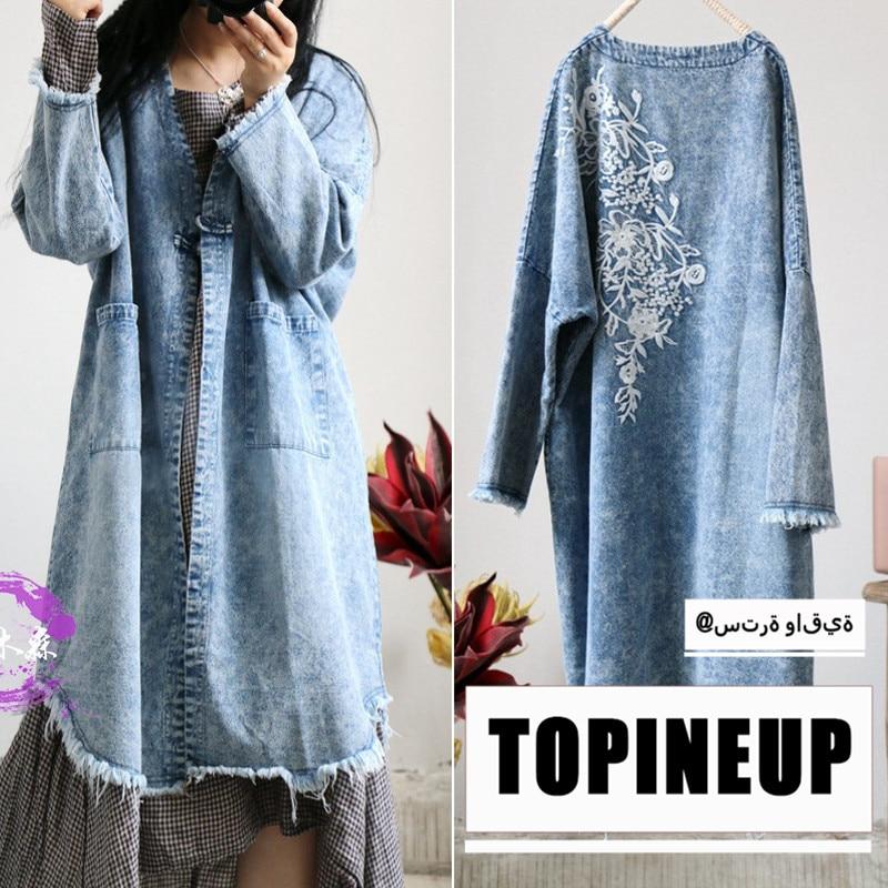 2019 Loose V-neck Ethnic original design embroidered Denim   Trench   Coats For Women Vintage Long Sleeve Casual Coats