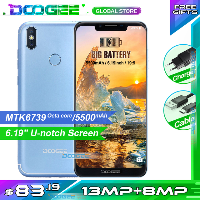 Fast shipping Doogee BL5500 LITE  Smartphone 5500mAh MT6739 2GB 16GB  6.19 Inch 19:9 Dual Cameras Mobile Phone