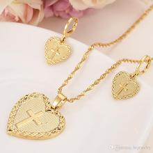 Gold dubai heart cross Jewelry Sets Earrings Pendant necklace chain bridal Women Party wedding mother gifts top women christmas gifts flower shape bridal jewelry accessories gold necklace crystal earrings italian jewelry sets