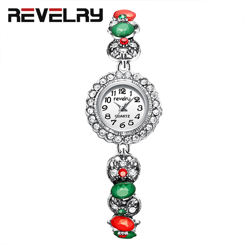 REVELRY 2019 New Watches Women Colored Rhinestones Quartz Watch Luxury Bracelet Women Dress Lady Gift Gemstone Wristwatch Women